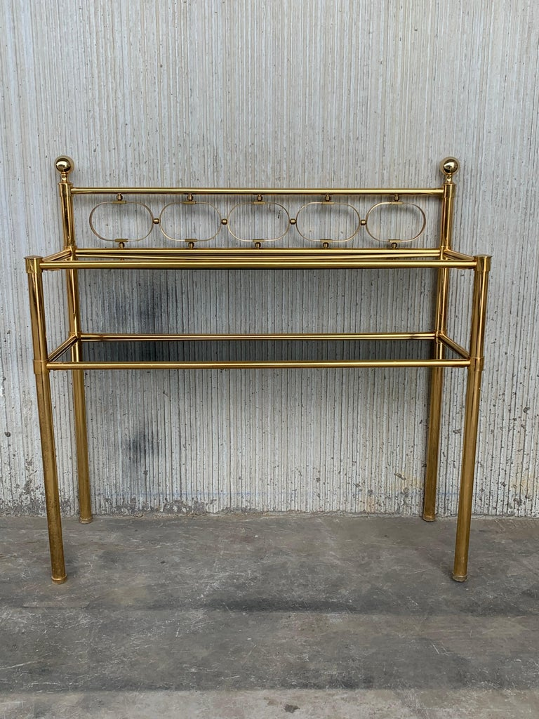 Mid-Century Modern Pair of Nightstands with Two Fumee Glass Shelves  For Sale 8