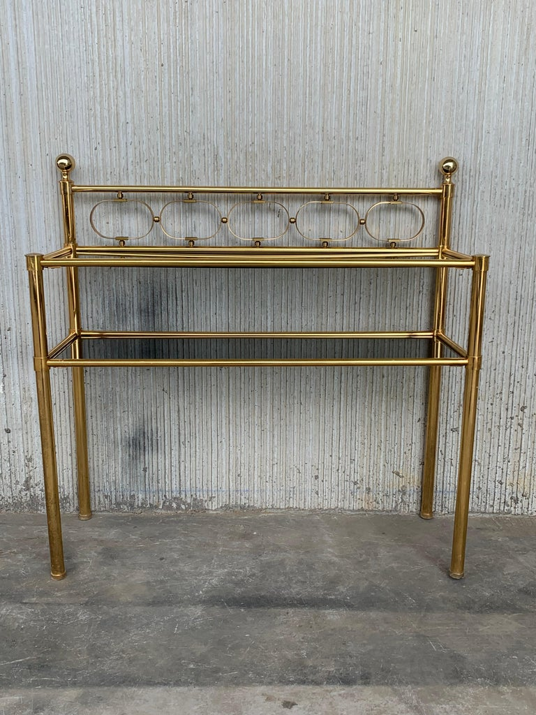 Mid-Century Modern Pair of Nightstands with Two Fumee Glass Shelves  For Sale 9