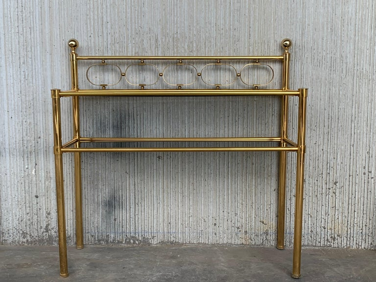 Mid-Century Modern Pair of Nightstands with Two Fumee Glass Shelves  For Sale 13