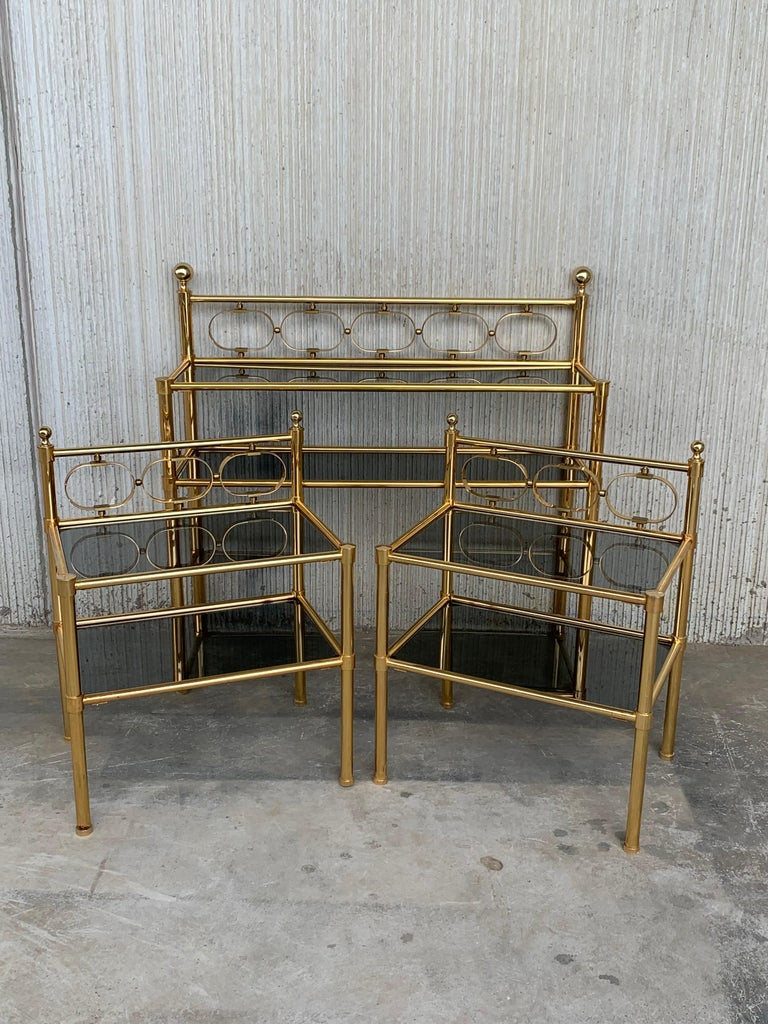Mid-Century Modern Pair of Nightstands with Two Fumee Glass Shelves  For Sale 14