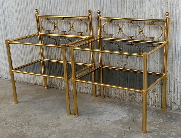 Spanish Mid-Century Modern Pair of Nightstands with Two Fumee Glass Shelves  For Sale