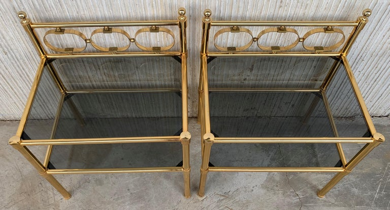 20th Century Mid-Century Modern Pair of Nightstands with Two Fumee Glass Shelves  For Sale