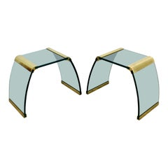 Mid-Century Modern Pair of Pace Waterfall Side End Tables Brass and Glass, 1970s