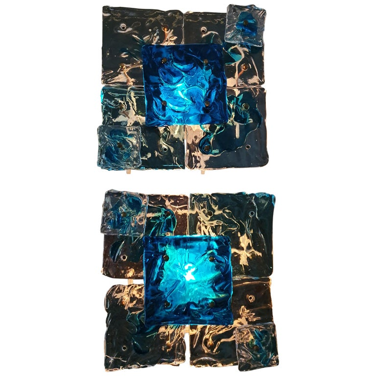 """Six Mid-Century Modern  """"Patchwork"""" Glass Sconces by Toni Zuccheri for Venini For Sale"""