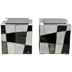 Mid-Century Modern Pair of Paul Evans Argente Cube Chrome Slate Side End Tables