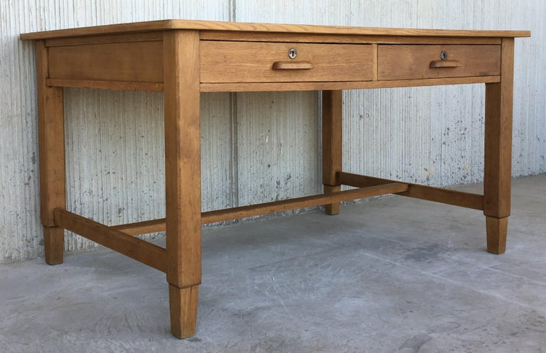 Spanish Mid-Century Modern Pair of Pine Desk with Two Drawers For Sale