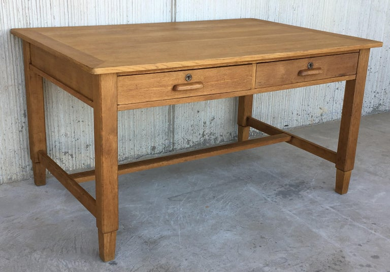 Mid-Century Modern Pair of Pine Desk with Two Drawers In Excellent Condition For Sale In Miami, FL