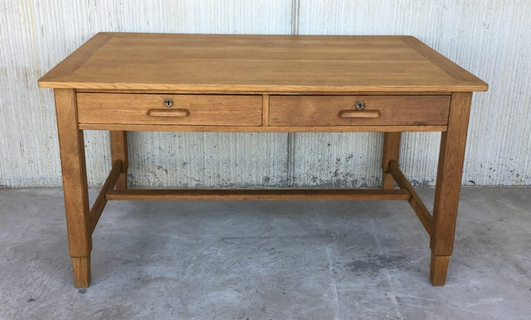 20th Century Mid-Century Modern Pair of Pine Desk with Two Drawers For Sale