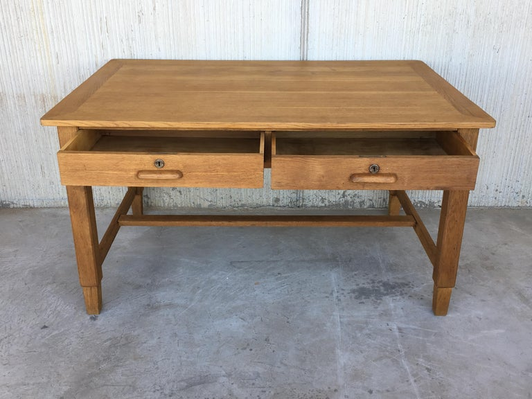 Mid-Century Modern Pair of Pine Desk with Two Drawers For Sale 2