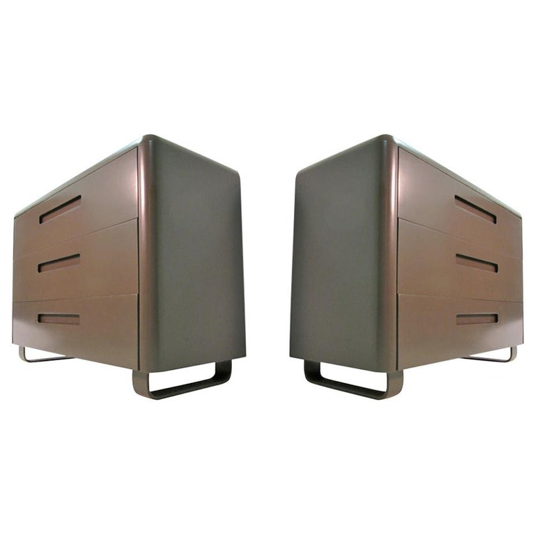 Mid-Century Modern Pair of Plymodern Dressers with Vanity and Bench Paul Goldman For Sale