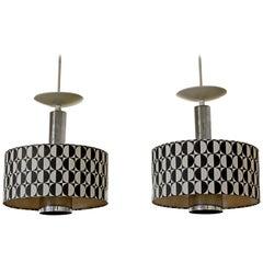 Mid-Century Modern Pair of Rare Italian Lightolier Pendant Light Fixtures, 1960s