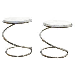 Mid-Century Modern Pair of Rosen Pace Side Tables Spring Chrome Marble, 1970s