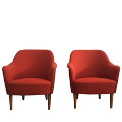 Mid-Century Modern Pair of Samspel Chairs by Carl Malmsten, O.H. Sjoegren