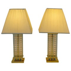 Mid-Century Modern Pair of Sciolari Brass & Glass Rod Table Lamps, 1970s Italian