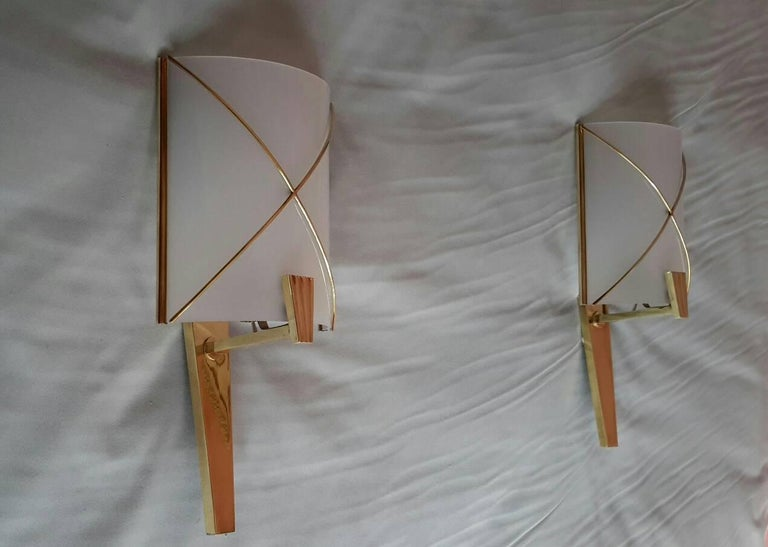 French Mid-Century Modern Pair of Sconces by Lunel, France, 1950s For Sale