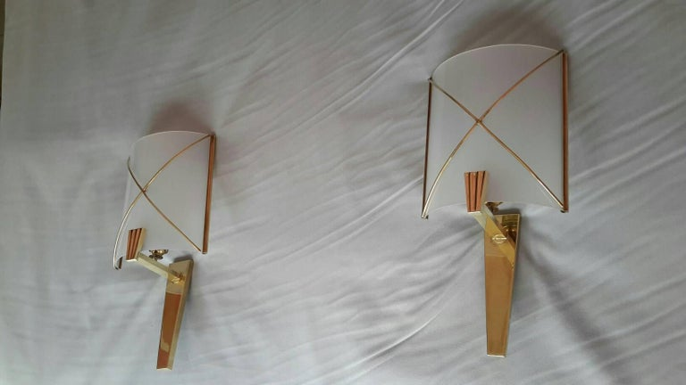 Brass Mid-Century Modern Pair of Sconces by Lunel, France, 1950s For Sale