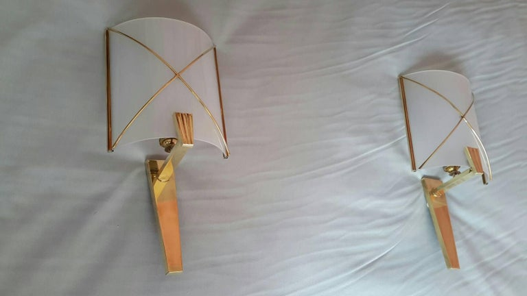 Mid-Century Modern Pair of Sconces by Lunel, France, 1950s For Sale 1