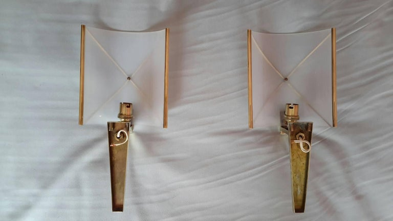 Mid-Century Modern Pair of Sconces by Lunel, France, 1950s For Sale 2