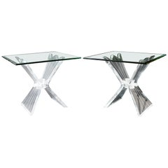 Mid-Century Modern Pair of Sculptural Lucite Acrylic Glass Side End Tables 1970s