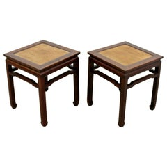 Mid-Century Modern Pair of Sculptural Oriental Wood and Cane Side End Tables