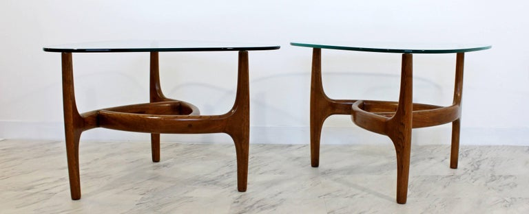 Mid-20th Century Mid-Century Modern Pair of Side or End Table Wood and Glass For Sale