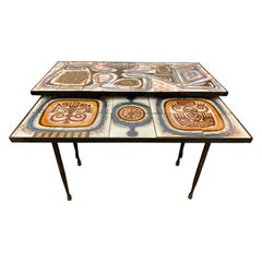 Mid-Century Modern Pair of Signed Poussini Nested Nesting Tile Top Tables