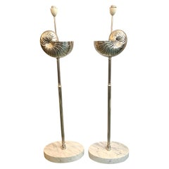 Mid-Century Modern Pair of Silver Shell Floor Lamps with Marble Bases