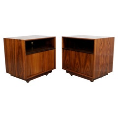 Mid-Century Modern Pair of Single Shelf Rosewood Nightstands, 1960s