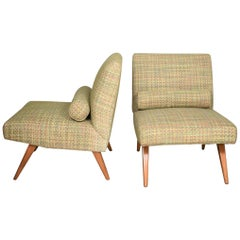 Mid-Century Modern Slipper Chairs in the Style of Jens Risom Overall Chair, Pair