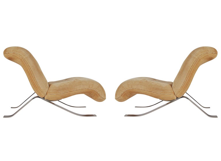 Mid-Century Modern Pair of Slipper Lounge Chairs with Barcelona Style Legs In Good Condition For Sale In Philadelphia, PA