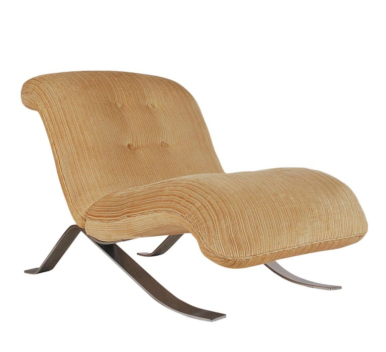 Late 20th Century Mid-Century Modern Pair of Slipper Lounge Chairs with Barcelona Style Legs For Sale