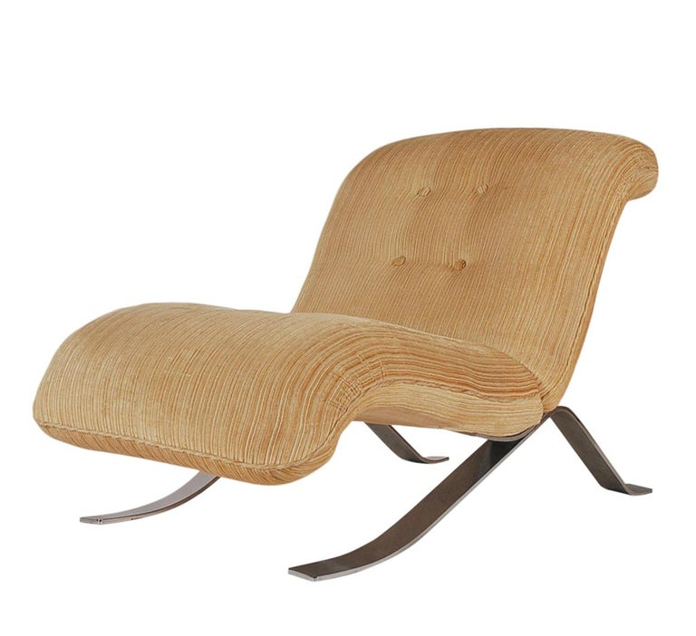 Fabric Mid-Century Modern Pair of Slipper Lounge Chairs with Barcelona Style Legs For Sale
