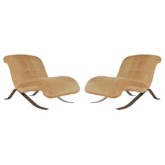 Mid-Century Modern Pair of Slipper Lounge Chairs with Barcelona Style Legs