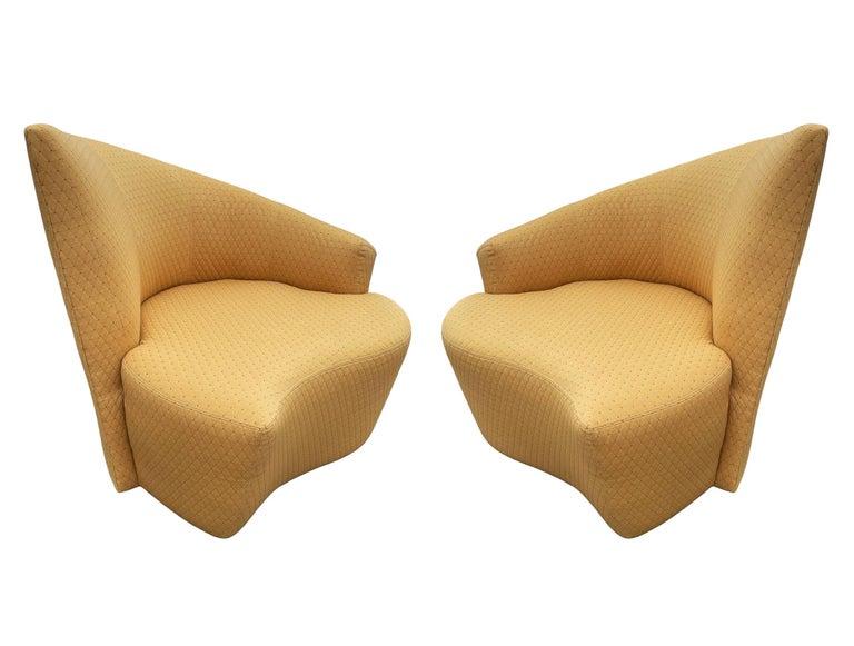 American Mid-Century Modern Pair of Slipper Swivel Lounge Chairs by Vladimir Kagan For Sale