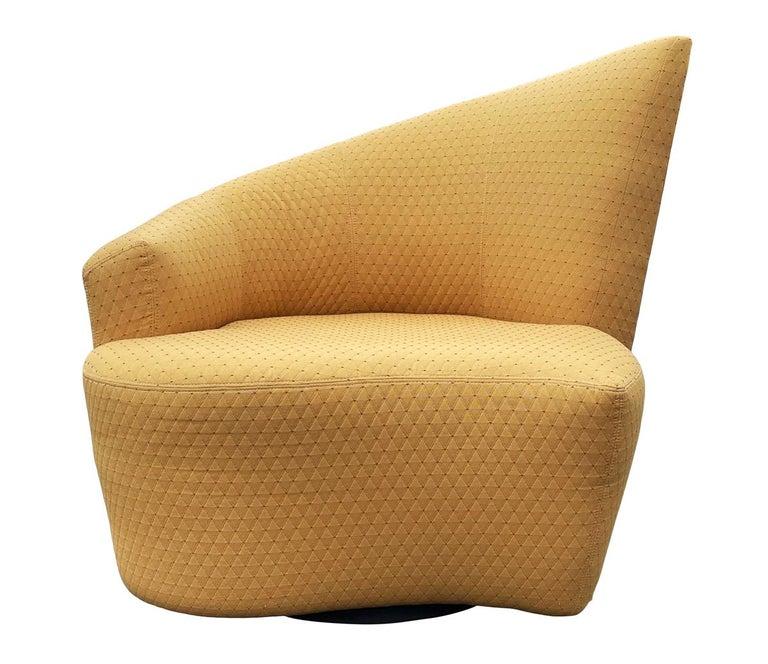 Mid-Century Modern Pair of Slipper Swivel Lounge Chairs by Vladimir Kagan For Sale 2