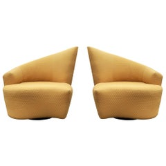 Mid-Century Modern Pair of Slipper Swivel Lounge Chairs by Vladimir Kagan