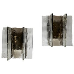 Mid-Century Modern Pair Smoke Clear Slotted Glass Nickel Murano Mazzega Sconces