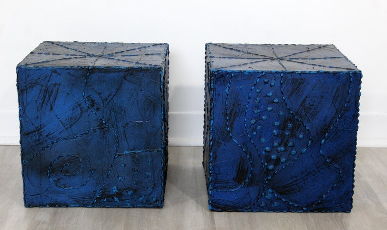 For your consideration is a fantastic pair of small blue side or end tables, in the Argente Paul Evans style. In excellent condition. The dimensions are 12.25
