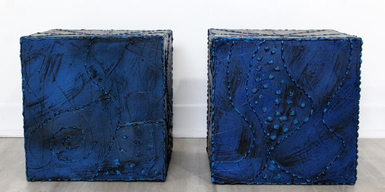 Mid-Century Modern Pair of Square Side End Tables Paul Evans Argente Style In Good Condition For Sale In Keego Harbor, MI