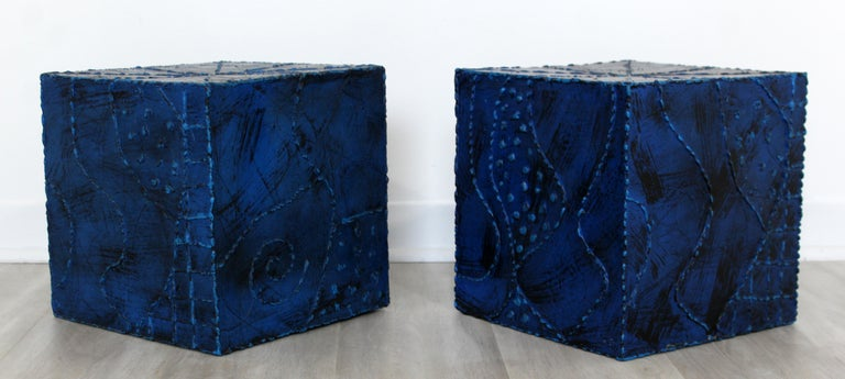 20th Century Mid-Century Modern Pair of Square Side End Tables Paul Evans Argente Style For Sale