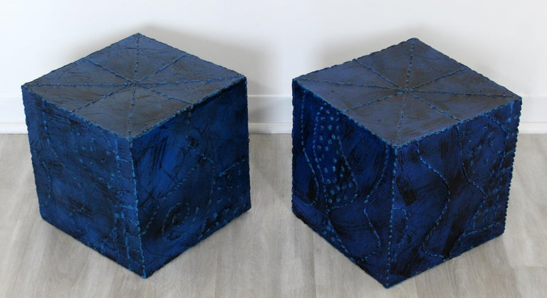 Metal Mid-Century Modern Pair of Square Side End Tables Paul Evans Argente Style For Sale