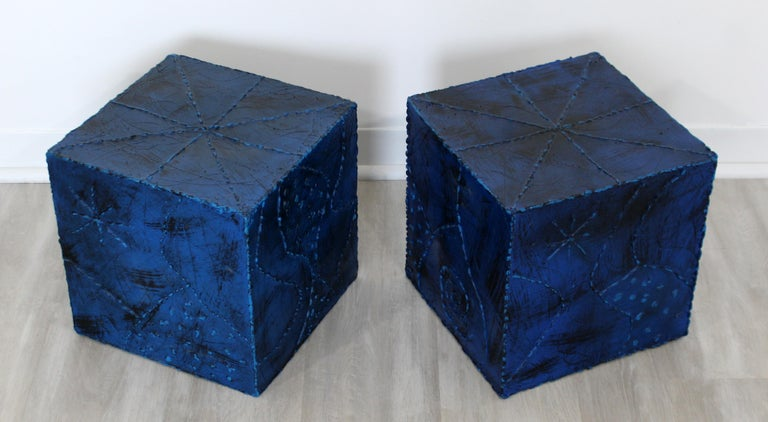 Mid-Century Modern Pair of Square Side End Tables Paul Evans Argente Style For Sale 1