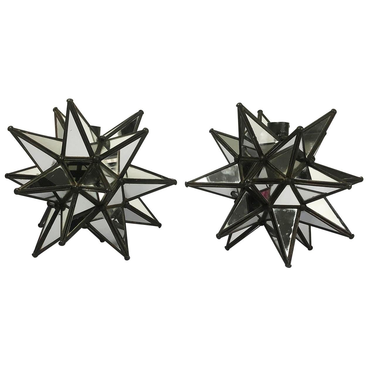 Mid-Century Modern Pair of Star-Shaped Candleholders with Embedded Mirrors