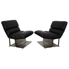 Mid-Century Modern Pair of Steel Leather Lounge Chairs Paul Geoffroy Uginox