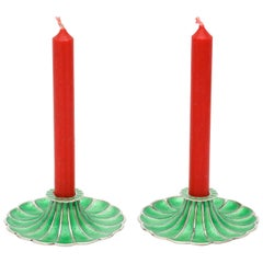 Mid-Century Modern Pair of Sterling Silver and Green Enamel Candlesticks