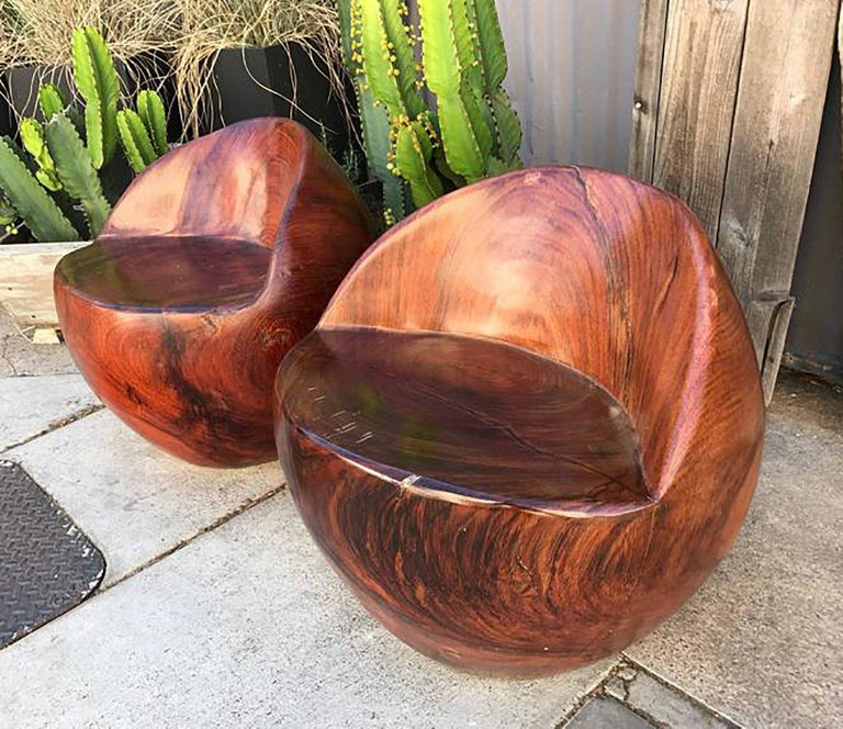 Mid-Century Modern Pair of Studio Solid Rosewood Chairs Nakashima Style In Good Condition For Sale In National City, CA