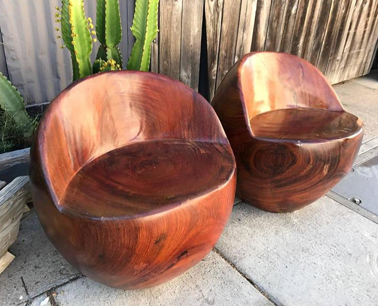 Mid-Century Modern Pair of Studio Solid Rosewood Chairs Nakashima Style For Sale 1