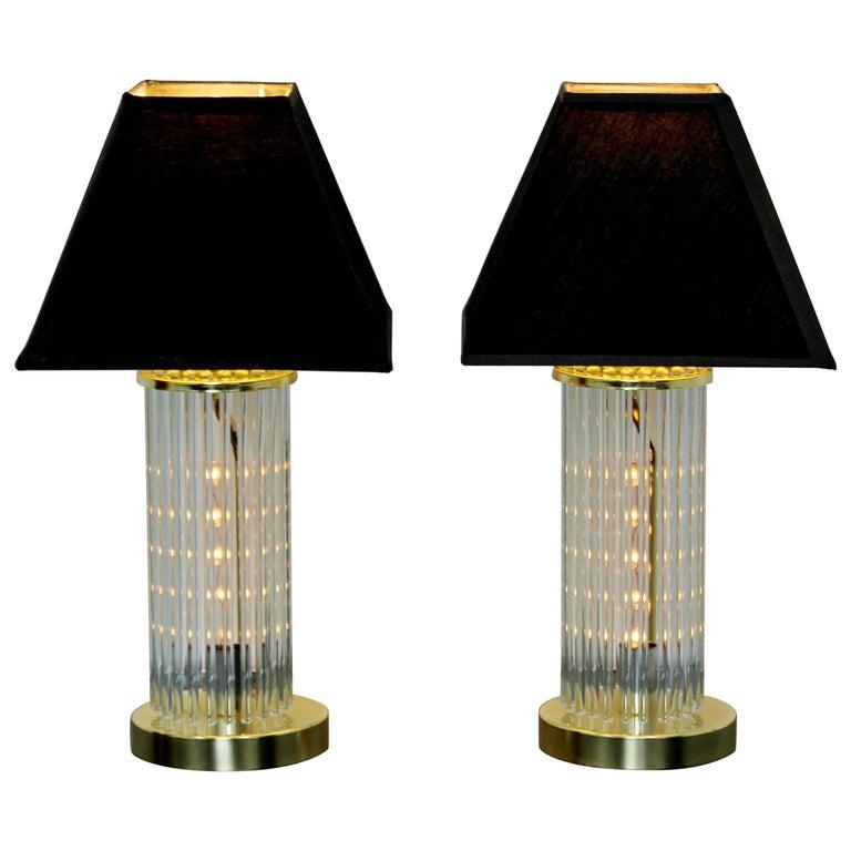 Mid-Century Modern Pair of Table Lamps Brass Glass Sciolari Lightolier, 1970s For Sale