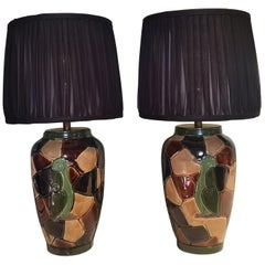 Mid-Century Modern Pair of Table Lamps Pottery Sofina Boutique Kitzbühel