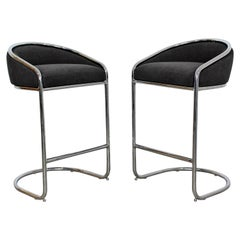 Mid-Century Modern Pair of Tall Chrome Plush Bar Stools Thonet, 1970s